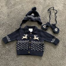 Ralph Lauren Baby Boys Knitted Jacket, Hat And Mittens