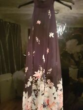 LIPSY Size 10  black and floral  A line pleated  halter neck  dress