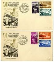2 Sobres primer dia España 1958 XVII Congreso Internacional de Ferrocarriles