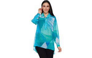 Susan Graver Printed Sheer Chiffon Shirt with Hi-Low Hem Aqua Reg 6 A290775 J