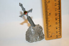 Excalibur Sword in Rock in Pewter with Crystal Accents ! Look! Jsh