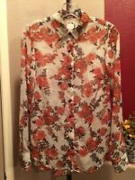 A New Day Women's Sz XS Semi Sheer Floral Button Down Long Sleeve Collared Shirt