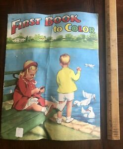 """Vintage 1954  """"First Book to Color"""" Large Coloring Book Saalfield Pub, Unused"""