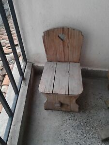 RARE OLD ANTIQUE PRIMITIVE NICE WOODEN WOOD HANDMADE STOOL CHAIR