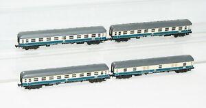 "Minitrix N 13074 2 x 13075 13076 Personenwagen + Gepäckwagen ""1xbeleuchtet"" FT68"