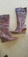 NEXT brown leather wedge heeled long boots size 7 ( 41 )  Wide fit