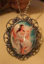 Dainty Scalloped Silvertne Angel Sitting on the Moon Glass Cameo Necklace Brooch