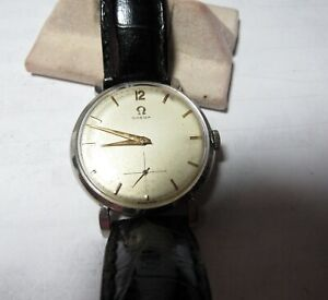 VINTAGE OMEGA WRISTWATCH 17 JEWELS STAINLESS MANUAL CAL 266 MADE 1953 / 32 MM