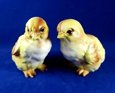 "2 Vintage Lefton Chick Figurines 3.5"" Japan Peeps Chickens Farmouse Easter Pair"