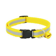 Pet Puppy Cat Kitten Soft Glossy Reflective Collar Safety Buckle with Bell ZY