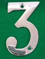 "3"" TOP QUALITY POLISHED CHROME NO:3 HOUSE DOOR NUMBER NUMERALS NUMBERS"