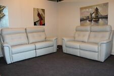G PLAN MARPLE LEATHER ELECTRIC 3 SEATER SOFA & STANDARD 2 SEATER SOFA+ FOOTSTOOL
