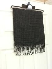"""NWT Dockers Black/Gray Plaid Men's Winter Scarf with fringe 12"""" X 52"""""""