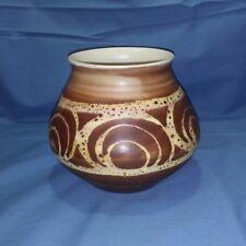 Vtg Aviemore Art Pottery Brown Geometric Swirl Vase Scotland Mid Century MCM