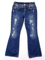 Silver Jeans AIKO Womens Size 27X30 Distressed & Destroyed Boot Cut Low Rise