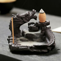 Ceramic Dragon Incense Burner Waterfall Backflow Holder Censer Home Fragrances