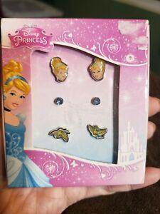 Disney Princess Cinderella Girl's Dove And Stud Earrings 3 Pc. Set New
