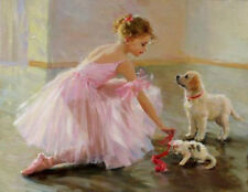 CHOP578 little ballet girl with cat dog hand painted oil painting canvas art