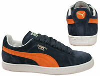Puma Suede Classic Lace Up Mens Low Top Navy Orange Trainers 350734 51 B2B
