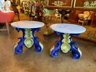 Pair of Hand Painted parcel gilt Portuguese Pedestals with Marble top