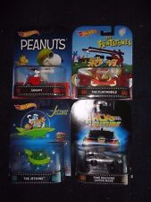 Hot Wheels Set of 4 SNOOPY, FLINTSTONES, JETSONS and TIME MACHINE, New  VHTF