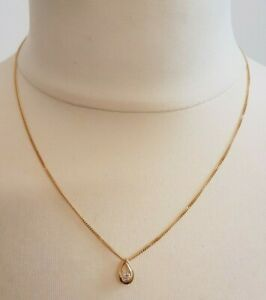 18Kt Gold Chain With Gold & Diamond Tear Drop Pendant 3.60g
