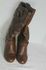 A.N.A A New Approach Medina Cognac Slouchy Brown Faux Leather Boots Size 7M (B)