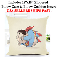 "18x18 18""x18"" 18in FAT SUPERMAN CLARK KENT Throw Pillow Case & Cushion Marvel DC"