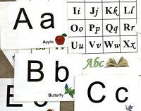 Large Alphabet Flash Cards Upper Lower Case Letters & Words & Pictures + ABC Mat