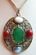 Beau collier pendentif celtique argenté pierres naturelle bijou vintage N° 2008