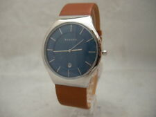 Authentic Skagen SKW6160 Grenen Blue Dial Tan Leather Men's Watch