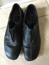 ECCO Men's Slip on Loafers Zip Up Front Shoes BLACK SOFT LEATHER Latex Soles 7.5