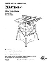 Craftsman 315.218050 Table Saw Owners Instruction Manual