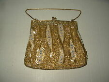Fancy High End Gold Beaded & AB Crystal Clutch Evening Purse
