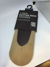 2 Pack Cotton Rich Footsies, Debenhams, One Size, Natural Colour RRP £4.25, New
