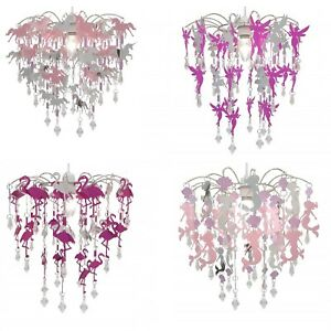 Unicorns Fairies Mermaids and Flamingos Chandelier Bedroom Lamp Shade for Kids