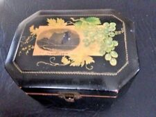 Black Victorian paper mache wood trinket Box with grape motif and mountain scene