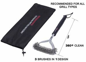 SS Brush Provides Effortless 360° Cleaning For Nexgrill BBQ Grills + Nylong Bag