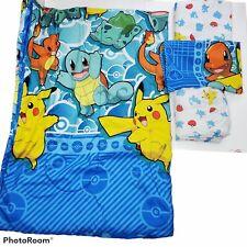 Pokemon Twin Comforter Bedspread Sheets Pillowcase 2016 Pikachu Charmander GUC