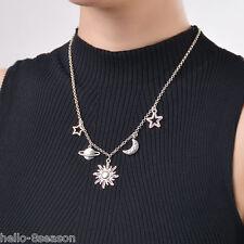 1 PC Silver Tone Women Star Moon Sun Pendant Necklace Jewelry Gift 46cm