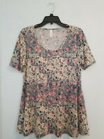 LulaRoe Women's Blouse Tunic Short Sleeve Scoop Neck Multicolor. Size Small