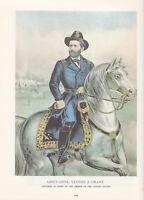 "1974 Vintage Currier & Ives CIVIL WAR ""LT. GEN. ULYSSES S. GRANT"" COLOR Litho"