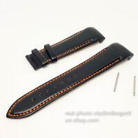 Tissot Black Leather Strap 23mm Watch Band T035617 T035439 orange line w/o clasp
