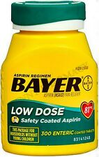 """BAYER Low Dose Aspirin """"Baby"""" 81mg ENTERIC COATED 300 Tablets"""