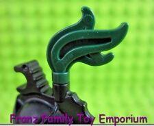 LEGO Minifig Dark Green PLUME Triple Compact Feather Castle Helmet