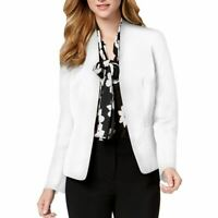 NINE WEST NEW Women's White Darted Pocketed Open-front Blazer Jacket Top L TEDO