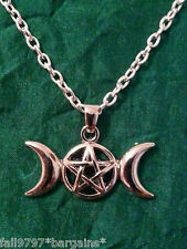 Triple Moon Goddess Pendant Pagan Wiccan Witchcraft Witch Devotion Necklace (d5)