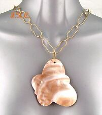 XL Debenhams Bali Gypsy Chic Abalone Paua Butterfly Cameo Shell Pendant Necklace