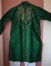 C48 Men's Green Indian Silk Kurta Pyjama Mens Outfit - Bollywood party