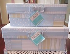 2 Waverly Stacking Nesting Boxes Blue Yellow Patchwork Fabric Ribbons Lids New
